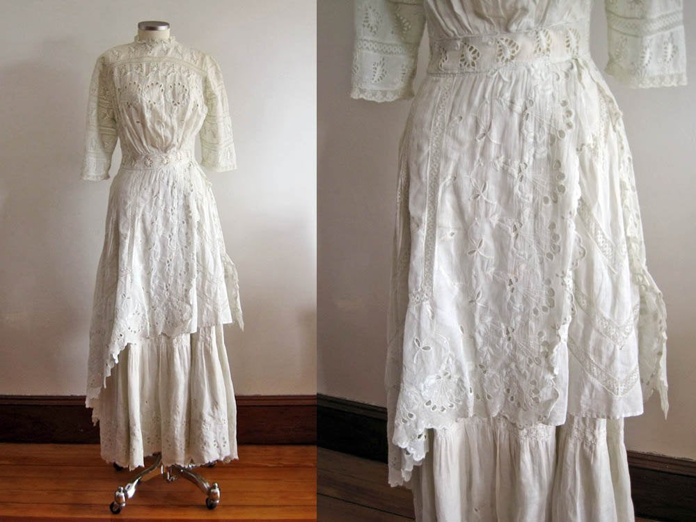 Close-Up of Edwardian Tea Gown Skirt Showing Broderie Anglais Whitework