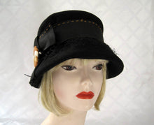 Load image into Gallery viewer, 1920s Black Felt Cloche Hat Earth Tone Flower