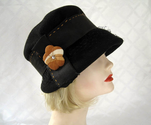 1920s Black Felt Cloche Hat Earth Tone Flower