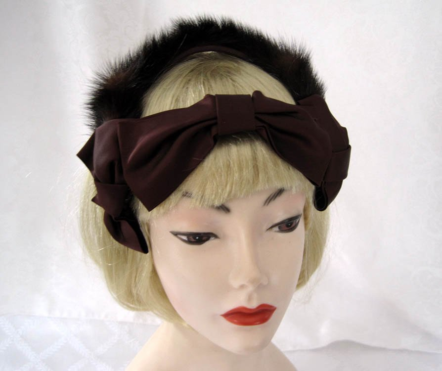 1940s Fascinator Hat Brown Mink Satin