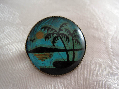 1920s Butterfly Wing Pin Painted Pacific Island