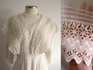 1910s Edwardian Tea Dress Fine Lawn Fabric Schifli Lace Apron Overlay