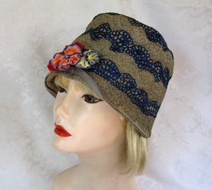 "1920s Cloche Hat 22"" Embroidered Straw Cloche Hat"