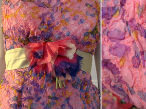 1960s Strappy Mini Dress Pink Purple Silk Flowers Party Dress Sam Friedlander