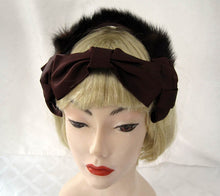 Load image into Gallery viewer, 1940s Fascinator Hat Brown Mink Satin
