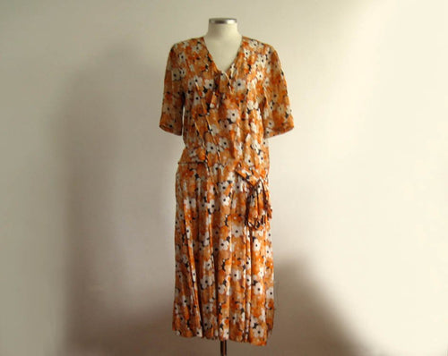 1920s Silk Flapper Dress Orange Floral Novelty Print