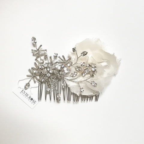 Addison Silk Floral Crystal Comb