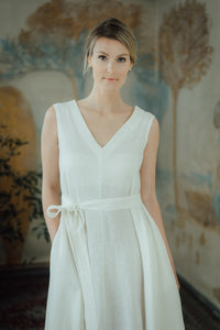 ANITA WHITE LINEN MAXI DRESS