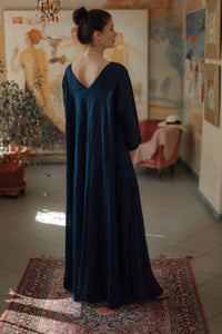 ANNA DARK BLUE LINEN MAXI DRESS