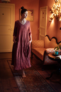 ANNA PALE BURGUNDY LINEN MAXI DRESS
