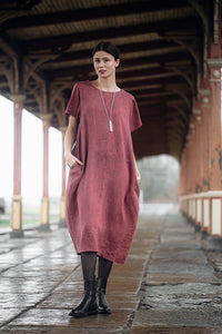 ELIN MIDI PALE BURGUNDY LINEN DRESS