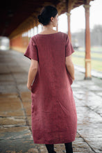 Load image into Gallery viewer, ELIN MIDI PALE BURGUNDY LINEN DRESS