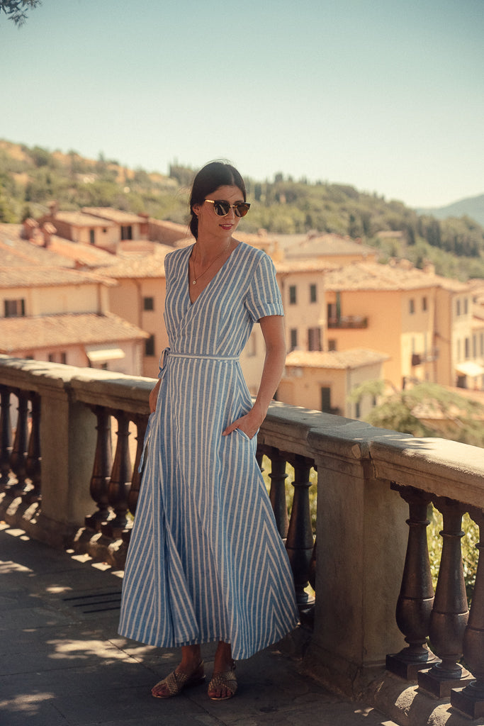 ELISE STRIPED LINEN WRAP DRESS