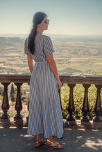 Load image into Gallery viewer, ELISE STRIPED LINEN WRAP DRESS
