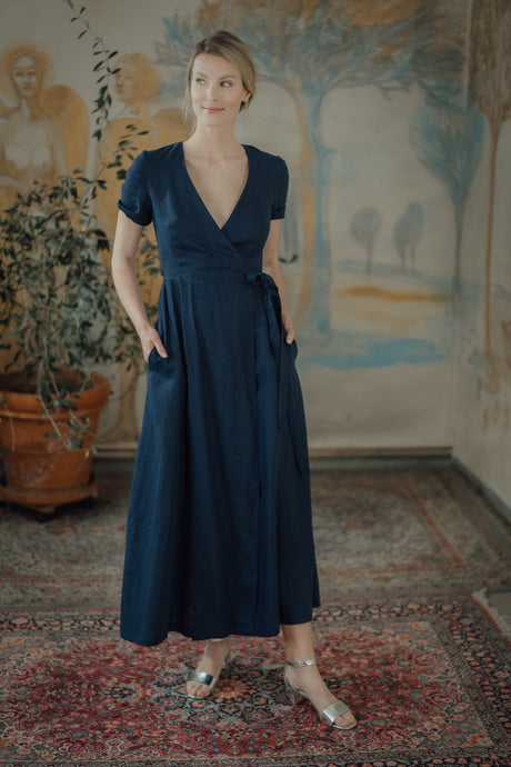 ELISE DARK BLUE LINEN WRAP DRESS