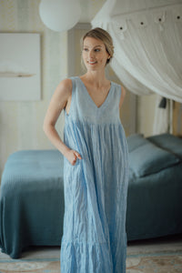 EMMA LIGHT BLUE LINEN MAXI DRESS