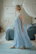 Load image into Gallery viewer, EMMA LIGHT BLUE LINEN MAXI DRESS
