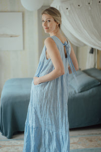 EMMA LIGHT BLUE LINEN MAXI DRESS (Pre-Order, Ships October 22)