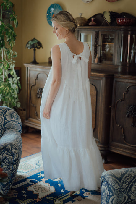 EMMA WHITE LINEN MAXI DRESS (Pre-Order, Ships August 11)