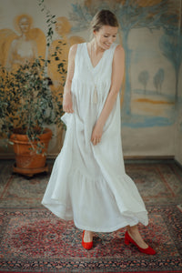 EMMA WHITE LINEN MAXI DRESS (Pre-Order, Ships October 14)