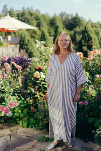 FATIMA STRIPED LINEN KAFTAN DRESS