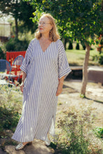 Load image into Gallery viewer, FATIMA STRIPED LINEN KAFTAN DRESS