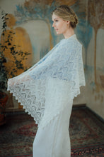 Load image into Gallery viewer, HAAPSALU SCARF WITH QUEEN SILVIA PATTERN IN WHITE