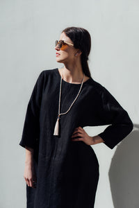 HELI MAXI BLACK LINEN DRESS