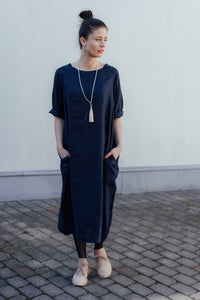 HELI MAXI DARK BLUE LINEN DRESS