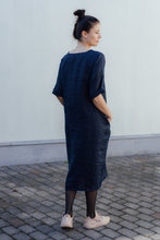 Load image into Gallery viewer, HELI MAXI DARK BLUE LINEN DRESS