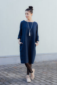 HELI MIDI DARK BLUE LINEN DRESS