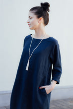 Load image into Gallery viewer, HELI MIDI DARK BLUE LINEN DRESS