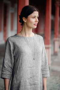 HELI MAXI LIGHT GREY LINEN DRESS