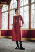 Load image into Gallery viewer, HELI MAXI PALE BURGUNDY LINEN DRESS