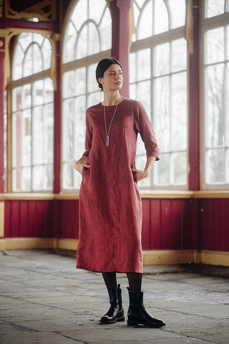 HELI MAXI PALE BURGUNDY LINEN DRESS