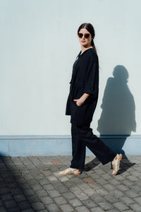 HOLM BLACK LINEN TROUSERS