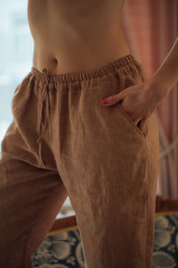 HOLM TERRACOTTA LINEN TROUSERS
