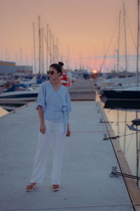 HOLM WHITE LINEN TROUSERS