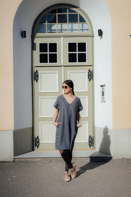 IDA DARK GREY LINEN DRESS