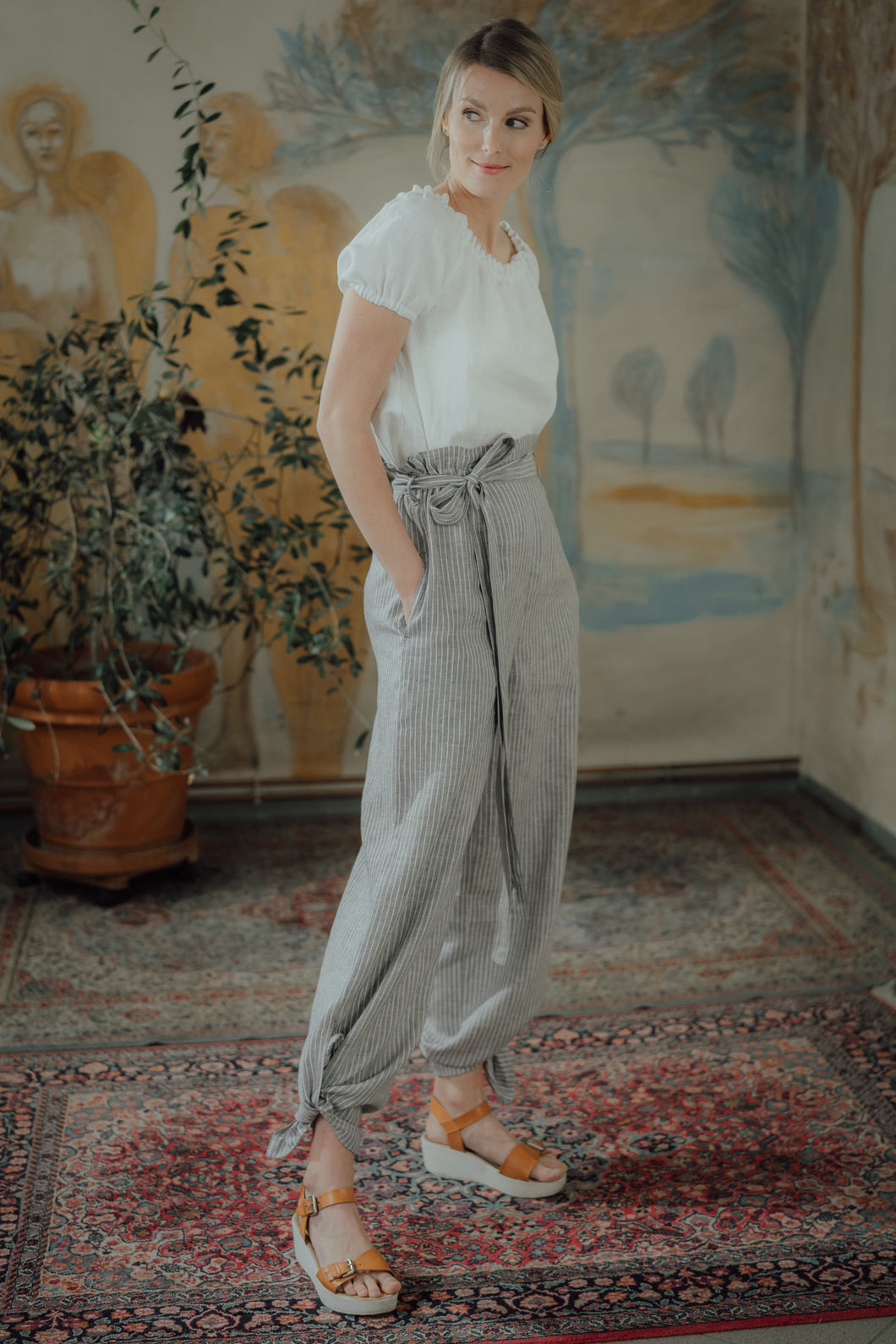 ISABEL GREY STRIPED LINEN TROUSERS