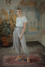Load image into Gallery viewer, ISABEL GREY STRIPED LINEN TROUSERS