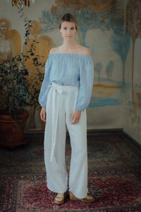 ISABEL WHITE LINEN TROUSERS (Pre-Order, Ships October 22)