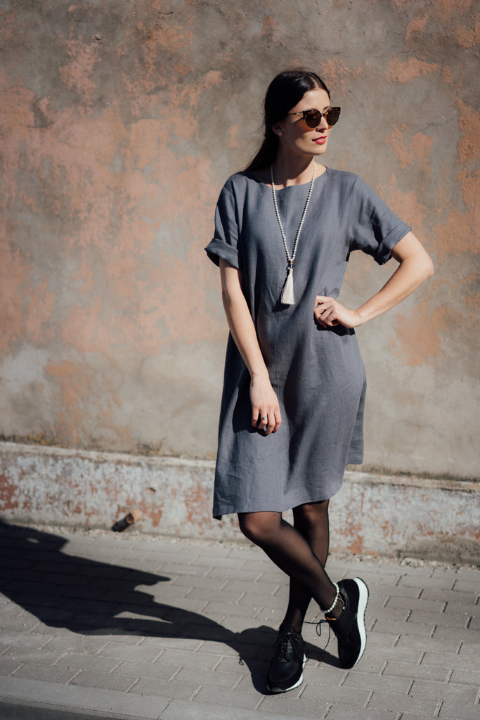 JANE DARK GREY LINEN DRESS