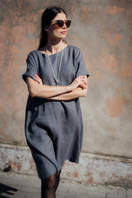 Load image into Gallery viewer, JANE DARK GREY LINEN DRESS