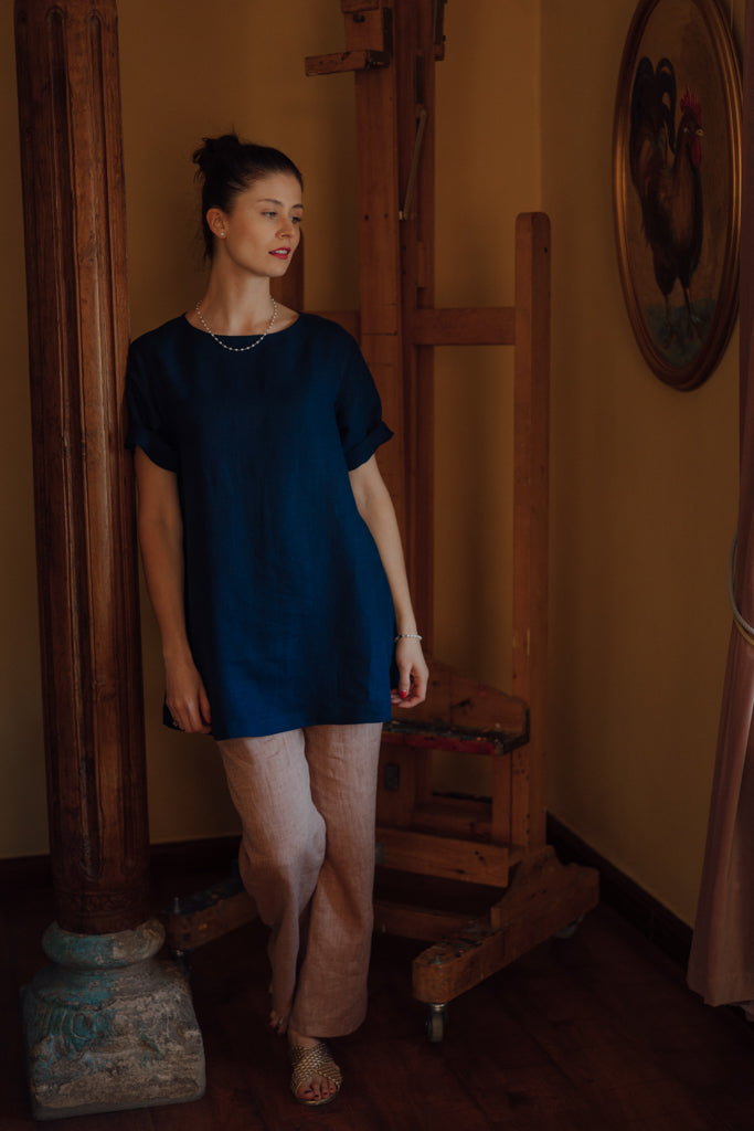 JOHANNA DARK BLUE LINEN SHIRT