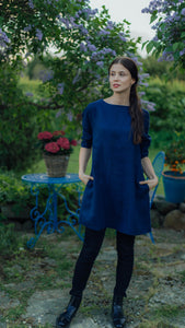 LILLY DARK BLUE LINEN TUNIC
