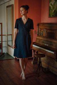 MARIA BLACK LINEN WRAP DRESS