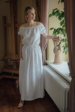 Load image into Gallery viewer, MARIE WHITE LINEN WRAP SKIRT