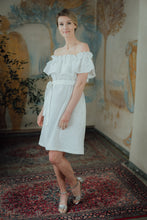 Load image into Gallery viewer, MIA WHITE LINEN MINI DRESS (Pre-Order, Ships October 14)