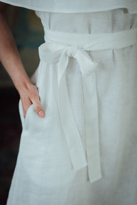 MIA WHITE LINEN MINI DRESS (Pre-Order, Ships October 14)